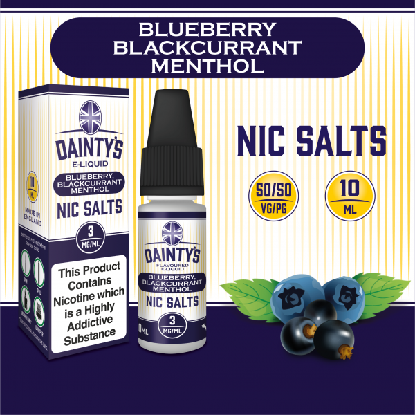 Dainty's Nic Salts Blueberry and Blackcurrant Menthol 10ml